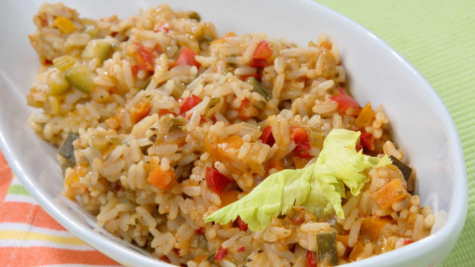Receita de arroz integral com legumes