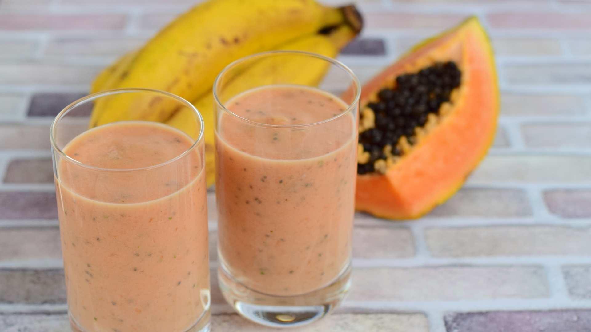 Receita de Vitamina de Pó Vegetal, Banana e Mamão
